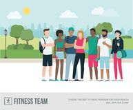 Sportspeople posing together vector illustration