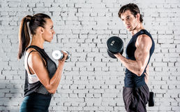 Sportspeople training in gym Stock Image
