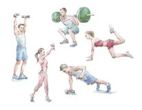 Sportspeople training watercolor. Hand painted stock illustration