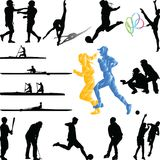 Sportspieler vom unterschiedlichen Sportschattenbildvektor Lizenzfreies Stockbild
