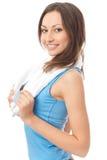 sportswear γυναίκα πετσετών στοκ φωτογραφίες