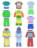 Sportswear for boys. Set of childrens sports clothing for boys Royalty Free Stock Image