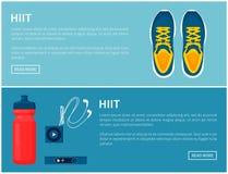 Sportswear Hiit, αθλητικά παπούτσια και χρήσιμες συσκευές Στοκ φωτογραφία με δικαίωμα ελεύθερης χρήσης