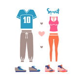 Sportswear for man and woman. T-shirt, pants and sneakers isolated on white background. Vector illustration eps 10 Royalty Free Stock Photo
