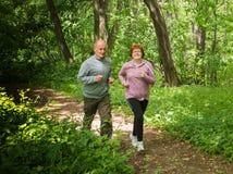 Sportswear och spring för äldre par bärande i skog på mountaien royaltyfri fotografi