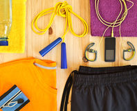 Sportswear. And player with headphones Royalty Free Stock Image