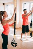 Sportswear prepare training couple gym concept. Before stretching. Healthcare lifestyle Stock Image
