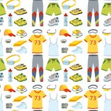 Sportswear running clothes runner gears for sport workout seamless pattern background vector illustration Stock Photos