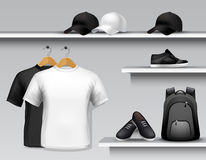 Sportswear Store Shelf Stock Photo