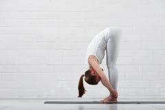 Sportswear vestindo da mulher bonita que faz a ioga fotografia de stock