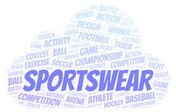 Sportswear word cloud. Wordcloud made with text only vector illustration
