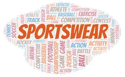 Sportswear word cloud. Wordcloud made with text only royalty free illustration