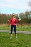 sportswoman шарика Стоковая Фотография