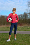 Sportswoman with a Ball Royalty Free Stock Photo