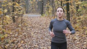 Sportswoman in black and grey sportswear running in the park. Motivated woman running in the forest