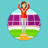 Sportswoman celebrating on the winners podium. Sportswoman with gold medal and hands raised standing on the winners podium. Vector flat design illustration in Stock Photos