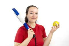 Sportswoman dietician showing healthy lifestyle Stock Image