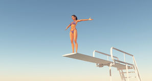 Sportswoman on a diving board. Computer generated 3D illustration with a sportswoman on a diving board Stock Image