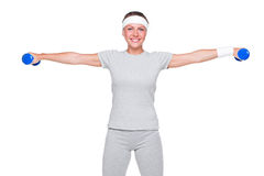Sportswoman doing exercises Stock Image