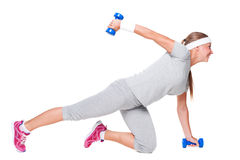 Sportswoman doing exercises Stock Photography