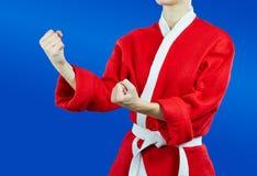 Sportswoman dressed as Santa Claus standing in rack of karate Royalty Free Stock Photo