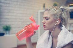 Sportswoman drinking water. stock images