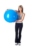 Sportswoman with a Fitness Ball Royalty Free Stock Photo