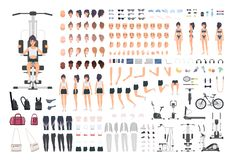 Sportswoman or fitness girl DIY kit. Set of woman`s body parts, postures, sports equipment, exercise machines isolated. On white background. Front, side and vector illustration