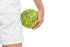 Sportswoman holding a ball stock image