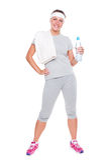 Sportswoman med handduken och vatten Arkivfoto