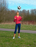 Sportswoman Playing with a Ball Stock Photo
