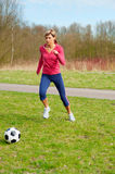 Sportswoman Playing with a Ball Stock Image