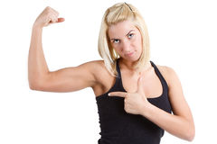 Sportswoman pointing at her royalty free stock image
