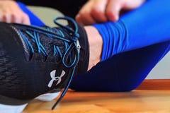 Sportswoman`s leg stock images