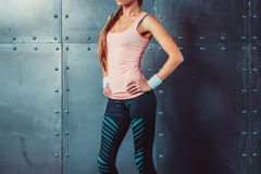 Sportswoman showing perfect female body in sports Stock Image