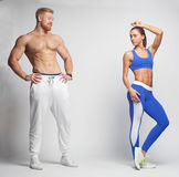 Sportswoman and sportsman looking at each other Stock Photo