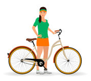 Sportswoman standing with a bicycle on a white background. Sport characters. Healthy lifestyle concept. Stock Photo