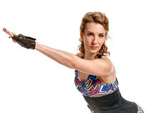 Sportswoman stretching hands Stock Image