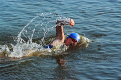 The sportswoman swim in water Stock Photos