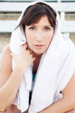 Sportswoman with towel Stock Photos