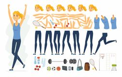 Sportswoman - vector cartoon people character constructor. Isolated on white background. Set of poses, gestures, body parts, emotions and sportive equipment for Stock Photo