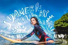 sportswoman in wetsuit on surfing board in ocean at Nusa dua Beach Bali Indonesia stock photos