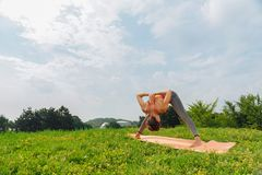 Sportswoman working on her wellbeing while doing yoga. Real wellbeing. Sportswoman working on her wellbeing while doing yoga on warm summer morning royalty free stock photo