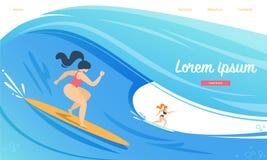 Sportswomen Riding Surfing Board by Ocean Waves. vector illustration