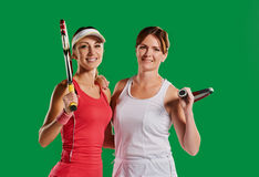 Sportswomen tennis players Stock Images