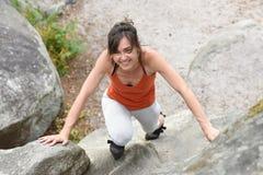 Sportswomen who practice climbimg Stock Images