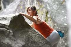 Sportswomen who practice climbimg Stock Image