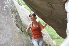 Sportswomen who practice climbimg Stock Photos