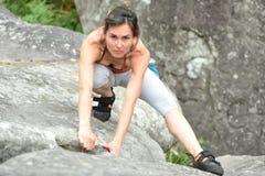 Sportswomen who practice climbimg Stock Photo