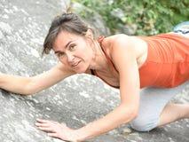 Sportswomen who practice climbimg Royalty Free Stock Image